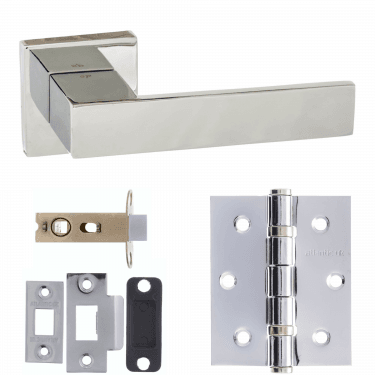 Senza Pari Panetti Designer Lever On Flush Square Rose 3'' Latch Handle Pack, Polished Chrome (SP217CP-3-LATCH-PACK)