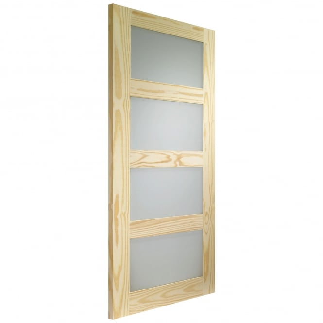 WoodDoor+ Shaker 4 Panel Internal Clear Pine Door with Obscure Glass