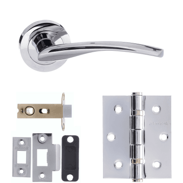 Status Arizona Lever On Round Rose 2.5'' Latch Handle Pack, Polished Chrome (S22RPC-2.5-LATCH-PACK)