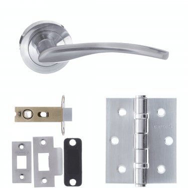 Status Arizona Lever On Round Rose 2.5'' Latch Handle Pack, Satin Chrome (S22RSC-2.5-LATCH-PACK)