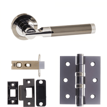 Status Dakota Lever On Round Rose 2.5'' Latch Handle Pack, Black Nickel/Polished Chrome (S36RBNPC-2.5-LATCH-PACK)