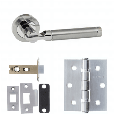 Status Dakota Lever On Round Rose 2.5'' Latch Handle Pack, Satin Chrome/Polished Chrome (S36RSCPC-2.5-LATCH-PACK)