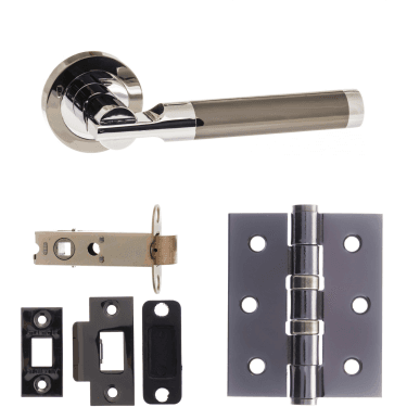 Status Dakota Lever On Round Rose 3'' Latch Handle Pack, Black Nickel/Polished Chrome (S36RBNPC-3-LATCH-PACK)