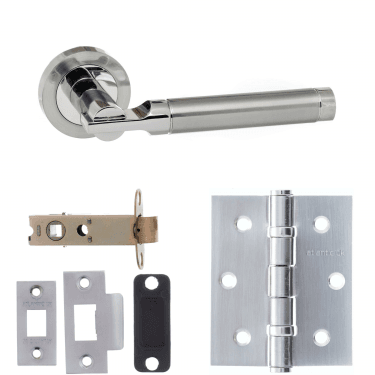 Status Dakota Lever On Round Rose 3'' Latch Handle Pack, Satin Chrome/Polished Chrome (S36RSCPC-3-LATCH-PACK)