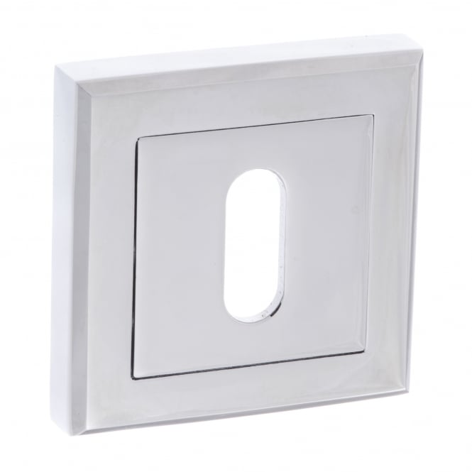 Atlantic Handles Status Key Escutcheon On Square Rose - Polished Chrome (S2ESCKSPC)