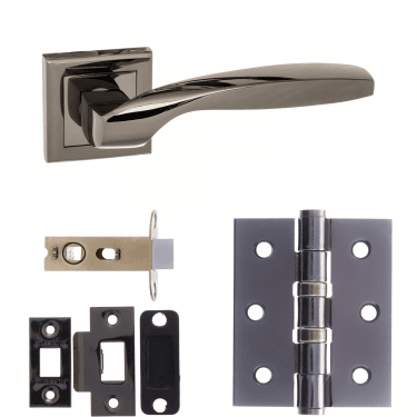 Status Oklahoma Lever On Square Rose 2.5'' Latch Handle Pack, Black Nickel (S25SBN-2.5-LATCH-PACK)