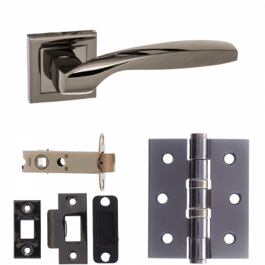 Status Oklahoma Lever On Square Rose 3'' Latch Handle Pack, Black Nickel (S25SBN-3-LATCH-PACK)