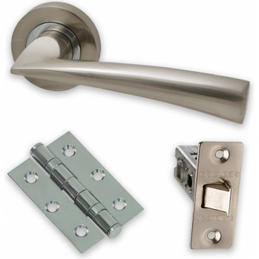 The Developer Phantom Lever On Round Rose Fire Rated Handle Pack, Polished Chrome & Satin Nickel (DEV.PHA.09.CP/SNFIREDOOR)