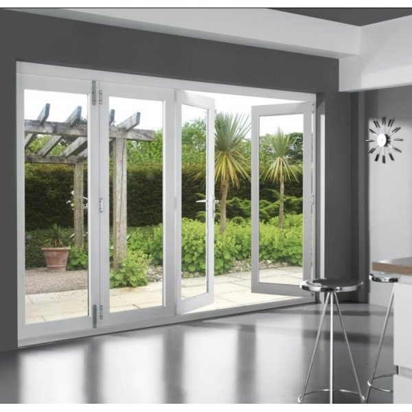 46 supreme external white finished folding sliding patio for Patio doors folding sliding