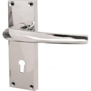 Tuscany Polished Chrome Lever Lock On Long Backplate Handle (J6601PC)