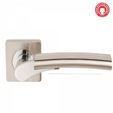 Ultimo Privacy Lever On Square Rose, Satin Nickel/Polished Chrome (DH003650-SQ-PRV)
