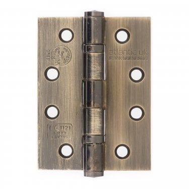 Universal 102mm (4'') Fire Rated Ball Bearing Hinge Pair - Antique Brass (AH1433AB)