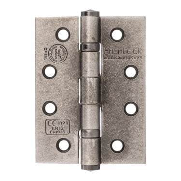 Universal 102mm (4'') Fire Rated Ball Bearing Hinge Pair - Distressed Silver (AH1433DS)