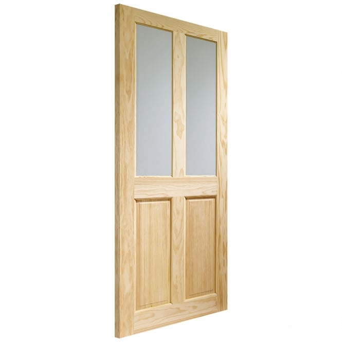 WoodDoor+ Victorian 4 Panel Internal Clear Pine Door with Obscure Glass