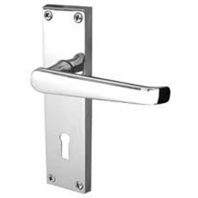 Frelan Hardware Victorian Straight JV30PC Polished Chrome Lever Lock On Long Backplate Handle