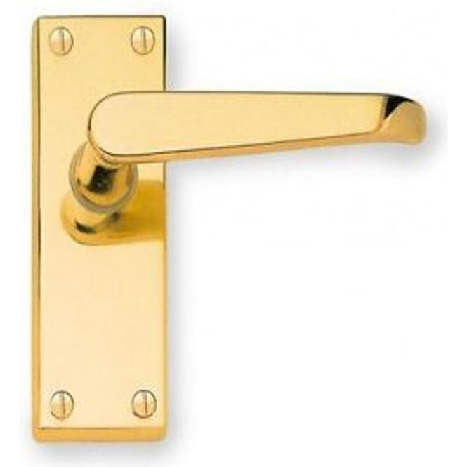 Frelan Hardware Victorian Straight JV31LPB Polished Brass Lever Latch On Long Backplate Handle