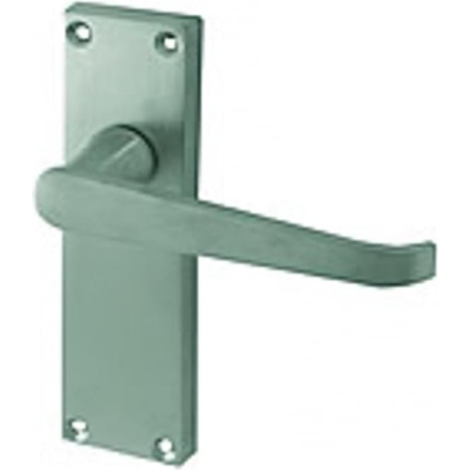 Frelan Hardware Victorian Straight JV31LSC Satin Chrome Lever Latch On Long Backplate Handle