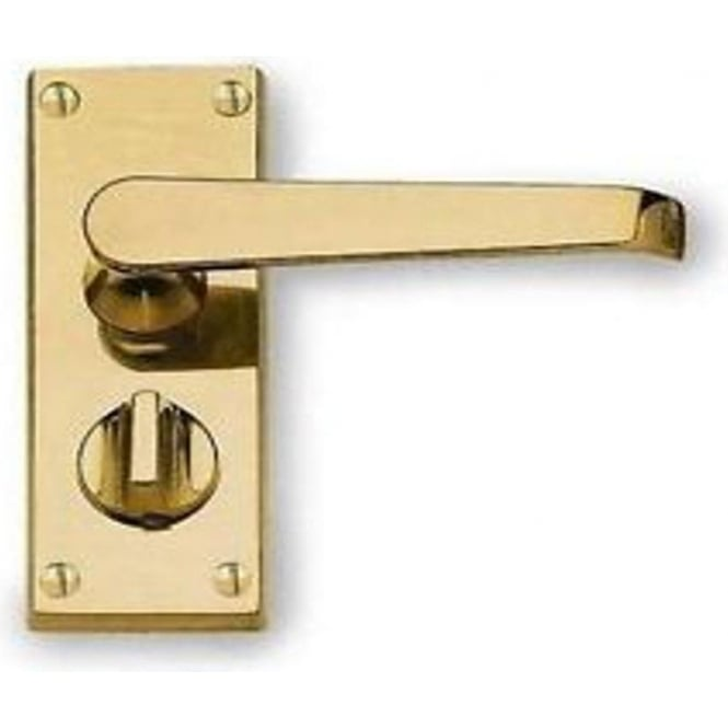 Frelan Hardware Victorian Straight JV31PRPB Polished Brass Privacy Lock On Short Backplate Handle