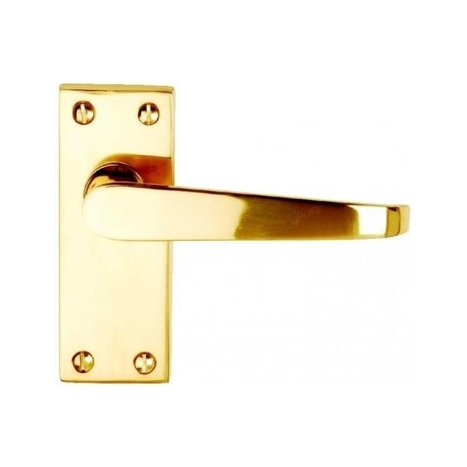 Dale Hardware Victorian Straight Polished Brass Budget Lever Latch On Short Backplate (Pair)