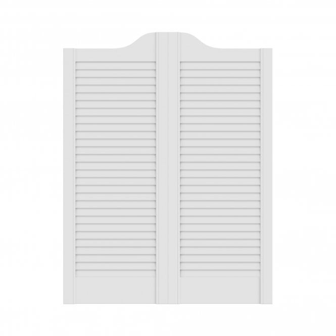 Beau White Painted Cafe Style Ranch Louvre Door Pair