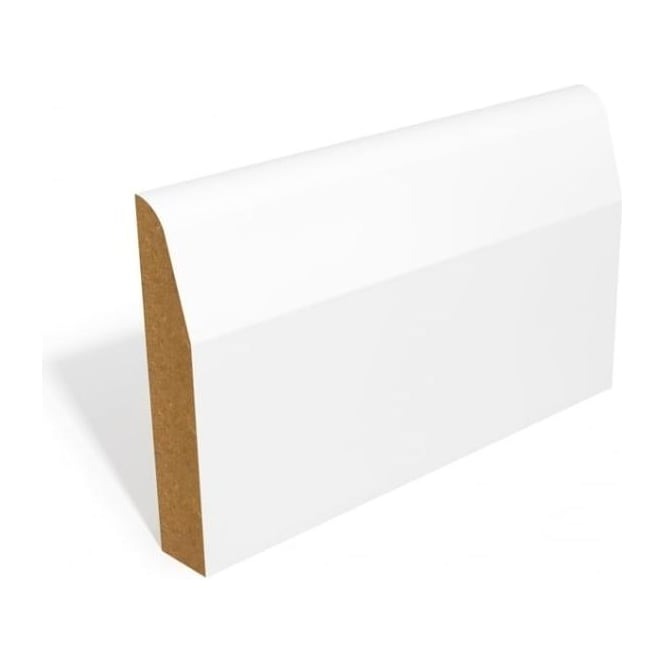 White Primed MDF Skirting Set with Chamfer & Round Profile