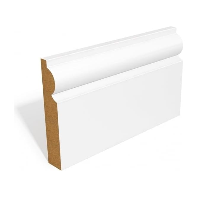 White Primed MDF Skirting Set with Torus Profile
