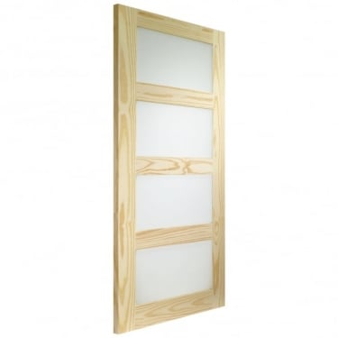 Shaker 4 Panel Internal Clear Pine Door with Clear Glass