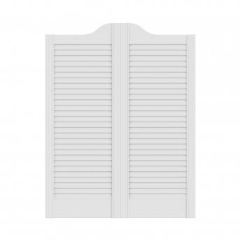WoodDoor+ White Painted Cafe Style Ranch Louvre Door Pair