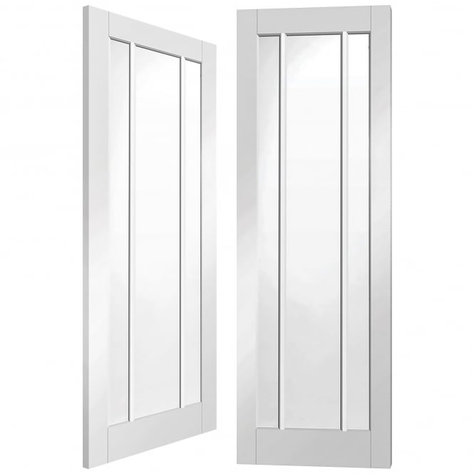 XL Joinery Worcester Internal White Primed Pair Door With Clear Glass