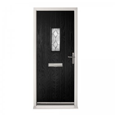 Extermal Black Chancery Pre-Hung Composite Door Set with Decorative Glass (CDSCHADEC-CDSBLACK)