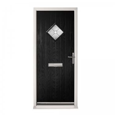 Extermal Black Hereford Pre-Hung Composite Door Set with Decorative Glass (CDSHERDEC-CDSBLACK)