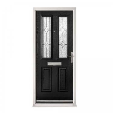 Extermal Black Malton Pre-Hung Composite Door Set with Decorative Glass (CDSMALDEC-CDSBLACK)