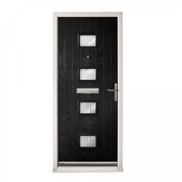 Extermal Black Siena Pre-Hung Composite Door Set with Obscure Glass (CDSSIE-CDSBLACK)