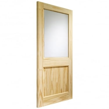 External Clear Pine Unfinished 2XG 1L Door with Clear Glass