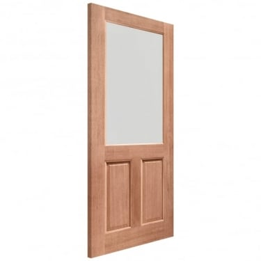 External Hardwood Unfinished 2XG 1L Door with Double Glazed Clear Glass (Mortice & Tenon)