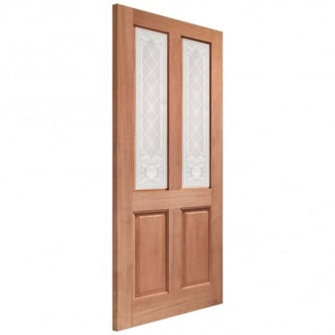 External Hardwood Unfinished Malton 2L Door with Burns Glass (Dowelled)