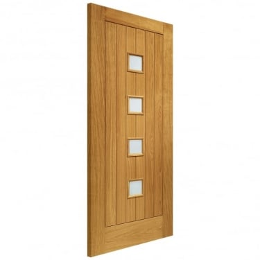 External Oak Siena Timber Doorset with Obscure Glass