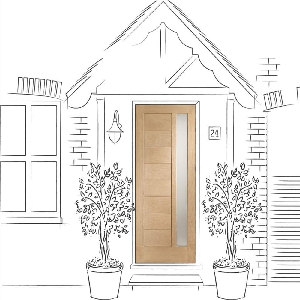 External Oak Un-finished Modena with Obscure Glass Door  sc 1 st  Leader Doors & XL Joinery Modena Oak External Door | Leader Doors