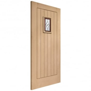 External Oak Unfinished Chancery 1L Door with Triple Glazed Brass Camed Glass