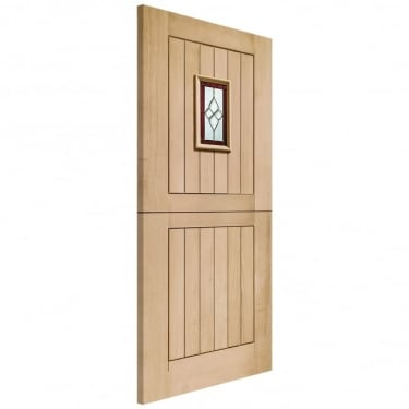 External Oak Unfinished Chancery 1L Stable Door with Triple Glazed Brass Camed Glass
