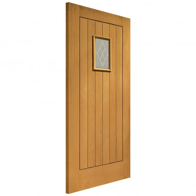 XL Joinery External Pre-Finished Oak Chancery Door with Decorative Glass