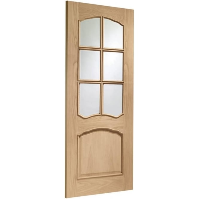 Internal Fully Finished Oak Riviera Door with Clear Bevelled Glass and Raised Mouldings