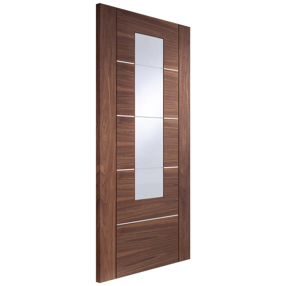 Internal Fully Finished Walnut Portici Door with Clear Glass  sc 1 st  Leader Doors & XL Joinery Alumina Portici Walnut Fully Finished Clear Glass ...