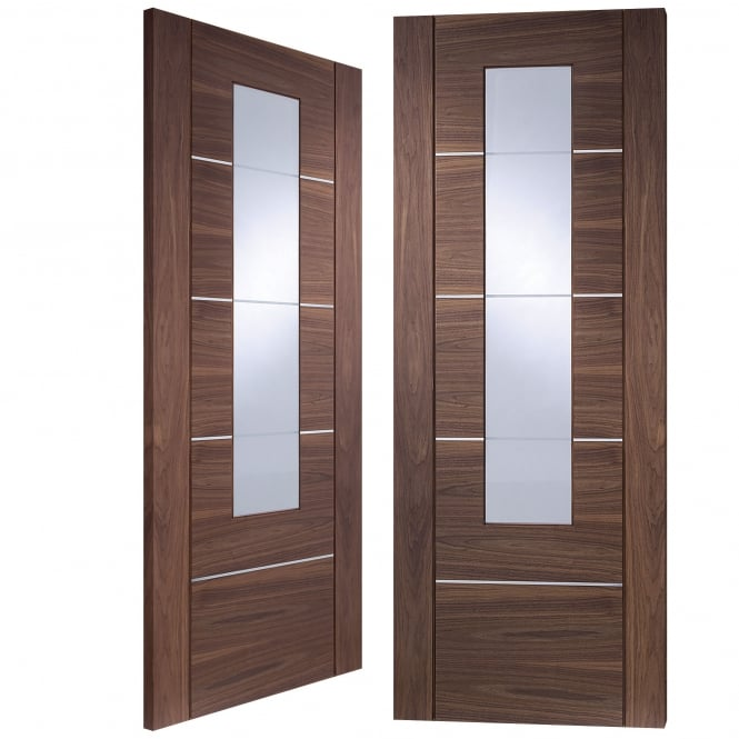 XL Joinery Internal Fully Finished Walnut Portici Pair Door with Clear Glass