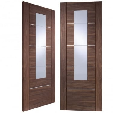 Internal Fully Finished Walnut Portici Pair Door with Clear Glass