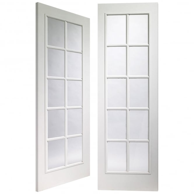 XL Joinery Internal Fully Finished White Moulded Portobello Pair Door with Clear Glass