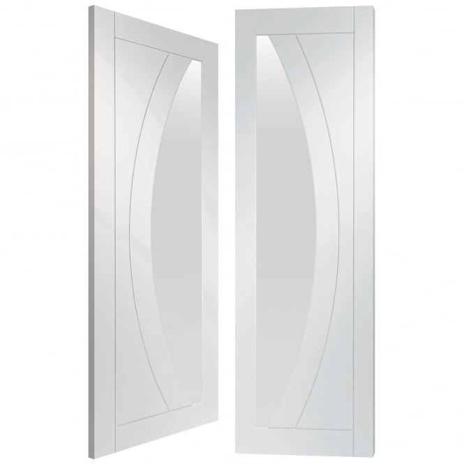 XL Joinery Internal Fully Finished White Primed Salerno Pair Door with Clear Glass