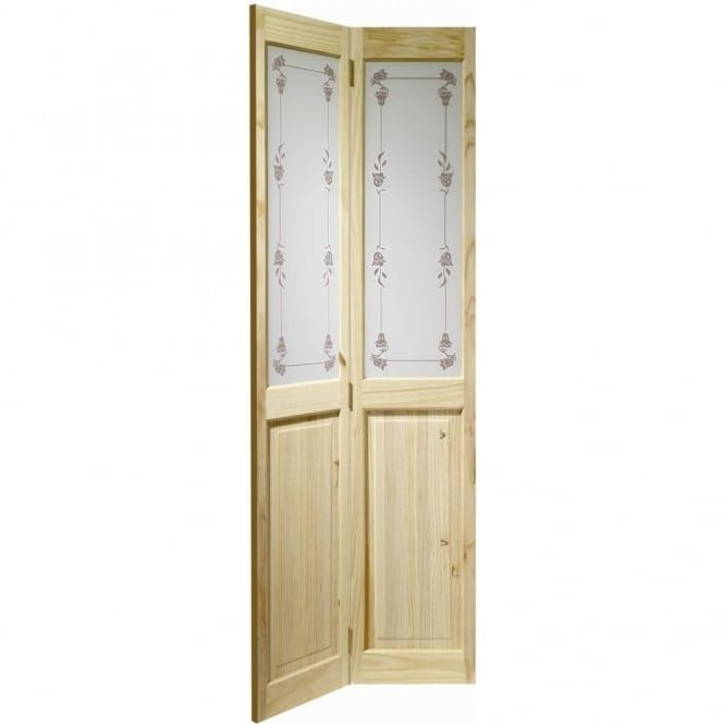 XL Joinery Internal Knotty Pine Victorian with Bluebell Glass Bi-Fold Door