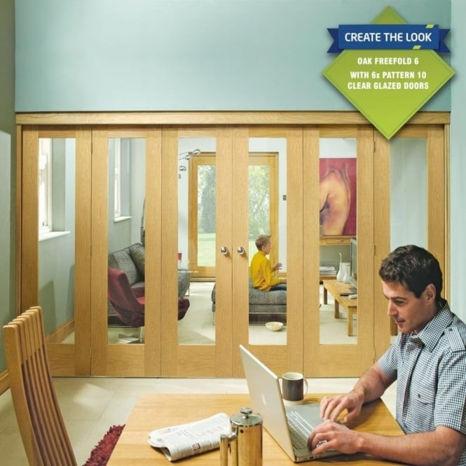 Internal Oak Freefold Room Divider Door System