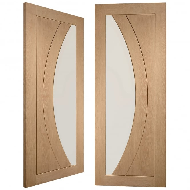 XL Joinery Internal Oak Salerno Pair Door with Clear Flat Glass